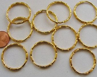 10 ANNEAUX PORTE-CLES métal doré 25mm création loisirs