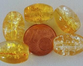 20 perles verre CRAQUELE Ovales 14x10mm JAUNE TRANSPARENT création bijoux