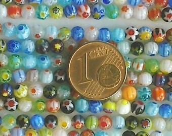 1 fil de 95 perles environ Rondes 4mm verre Millefiori  mix motifs et couleurs Création bijoux