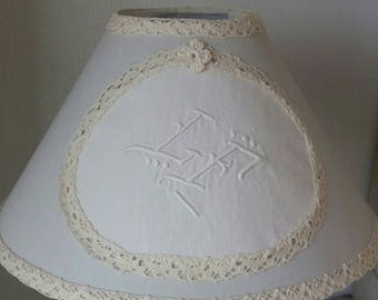 Monogram embroidered old 30 cm Lampshade