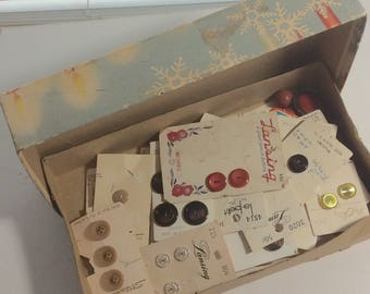 Vintage Button Box with Mixed Buttons on Cards in Old Christmas Box