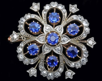 Antique Victorian Pendant and Brooch in One Diamond Sapphire Gold Silver (#5469)
