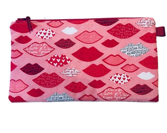 Lips Multi Purpose Pouch, Makeup Bag, Small Craft Project Bag, Gadget Bag, Pencil Case, Handmade in the UK