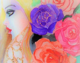 Girl with the rose Blondhaar, blue eyes,