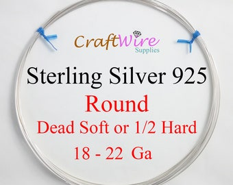 925 Sterling Silver Wire, Dead Soft or Half Hard, Round, 18 19 20 21 22 Gauge, Wrapping, Jewelry Craft 1 5 15 25 50 Feet
