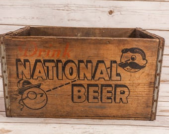 Vintage National Beer Wooden Crate Box Metal Rustic Carrier Black Red ACME Box Co. Man Cave Bar Advertising