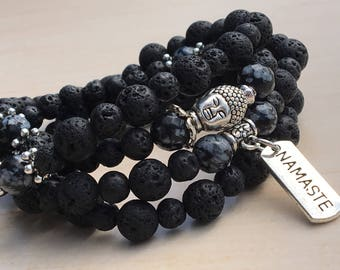 Yoga Necklace 108,Mantras Mala 108,Jewelry Prayer Zen,Snowflake Obsidian,Buddhist Jewelry,Healing Mala 108,Lava Gemstone,Spiritual Prayer