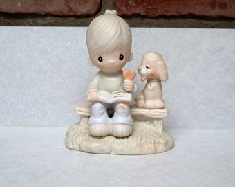 Precious Moments Figurine, Loving Is Sharing, Jonathan David, 1979, Girl with Puppy and Ice Cream Cone