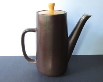 "1970's Mikasa Orange Sherbert, Brown Teapot, #7005/ Vintage Mikasa Terra Stone Pattern Tea pot.  Sienna and Espresso/ 8"" Tall"