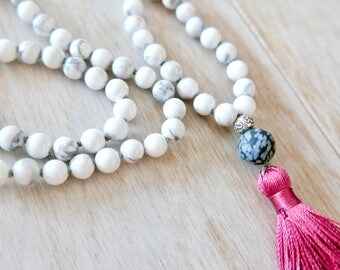 I Am Patient, I am Calm Mala Necklace - 108 Beads/Howlite Mala Necklace/Mala Beads 108/Mala Bead Necklace/Beaded Necklace/Tassel Necklace