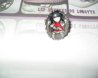 Beautiful little girl on a swing oval cabochon ring