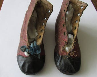 Vintage Pair Leather Doll Baby Shoes