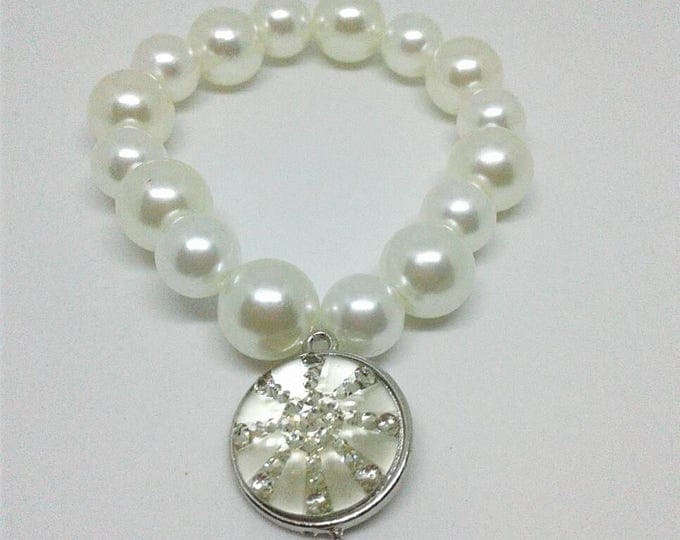 White Pearl Beaded Charm Bracelet, Statements Piece, Beadwork, Gifts for her, Women's Gift.
