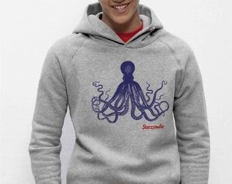 Sweat-shirt capuche bio Homme coton équitable gris chiné Impression Poulpe - Pieuvre