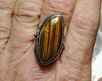 Tigers Eye Statement Ring - Size 6.75