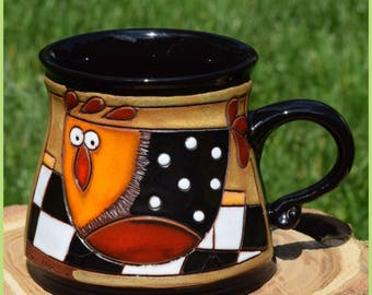 Pottery Mug, Hen 36, Handmade Gift, Coffee Cup, Relief gravure Cute Аnimals. Ceramics and Pottery, DIDINA HM