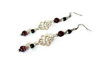 Retro earrings, purple and the silver