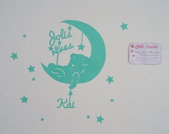 Set of personalized name stickers-to-hang Teddy bear theme and stars