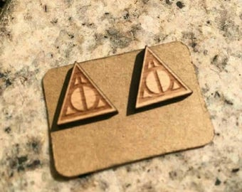 Wood button earrings Harry Potter Deathly Hallows