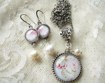 Roses jewelry Daughter gift Xmas gift for her Silver jewelry Shabby jewelry set Flower earrings Flower pendant Vintage Style Pearl jewelry