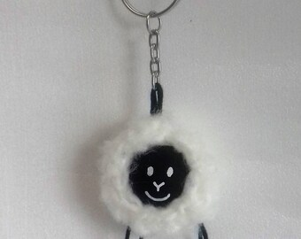 Sheep black and white, mounted on ring keychain