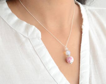 Necklace 925 Sterling Silver Pink and white moon stone and ceramic