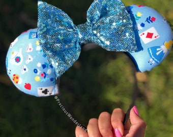 Alice mouse ears with light blue bow