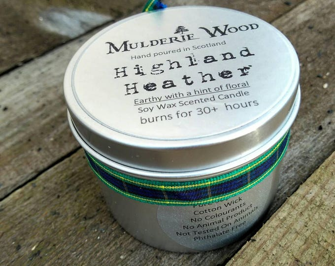 Highland Heather Scented Soy Wax Tin Candle Handmade in Scotland 30+ hour burn