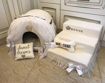 Ivory set of pet house and stairs  Princess dog bed Designer custom made bed Puppy house Personalized dog bed Cat bed Pet steps Dog steps