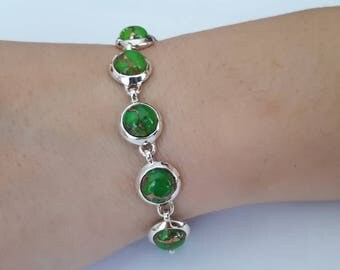 Copper turquoise bracelet,green, 92.5 sterling silver, free shipping