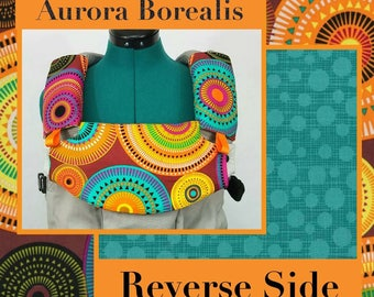 Pre-Order ** Aurora Borealis, Retro Circles Lillebaby Carrier Headrest Bib w/ Straight Drool Pads, Fully Reversible 3 Pc. Set