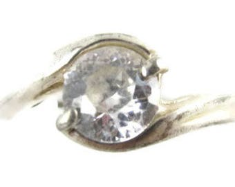 Brilliant 7Mm Round Cz Clear Bright Stone Solitary Sterling Silver Ring*Sz 9*E65
