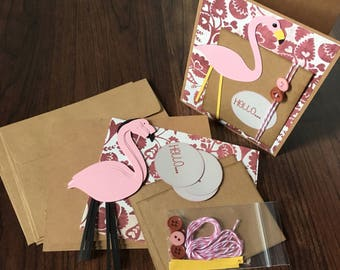 DIY Card Kit, Flamingo, Hello, 4Pk, Blank Inside, Card Making, Greeting Card Kits, Premade Card