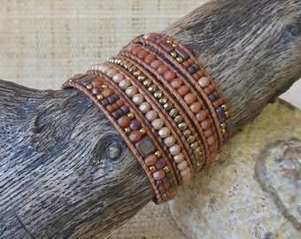 Beaded Leather Wrap Bracelet: Mixed Browns/Gold/5 Wrap Bracelet/Gift for Her/3rd Anniversary/Layering Bracelet/Statement Bracelet/Boho Chic