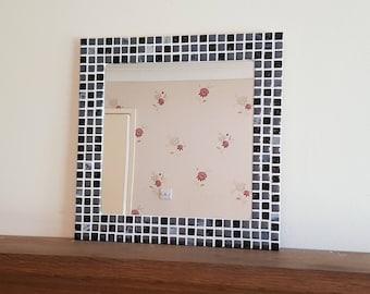 Mosaic Wall Mirror in Black & Silver 30cm / 40cm / 50cm Square / Round / Rectangular Bathroom Mirror - Made to Order