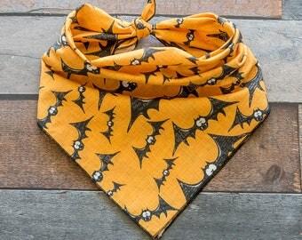 Bat Dog Bandana, Bat Bandana, Halloween Dog Bandana, Halloween Bandana, Tie On Bandana