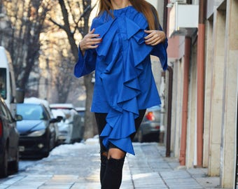 Asymmetric Turkish Blue Shirt, Extravagant Ruffle Sleeves Shirt, Casual Plus Size Shirt by SSDfashion