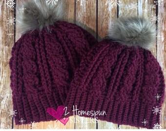 Deep purple, Pom pom slouchy beanie, Winter hat for women, Faux fur pom pom hat, Slouchy beanie hat, cable hat