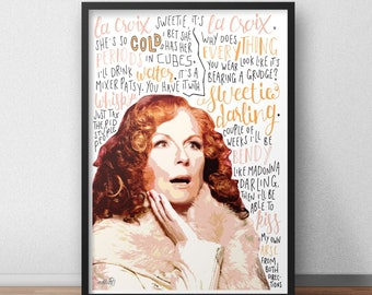 Edina Monsoon print / poster hand drawn typography quotes absolutely fabulous print / poster