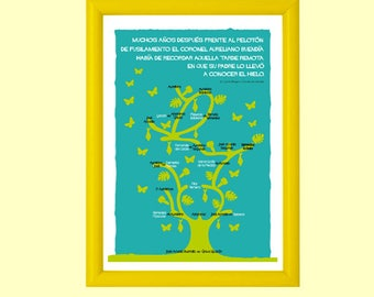 Printable poster ONE HUNDRED YEARS of Solitude by Gabriel García Márquez, book lovers, ready to print,instant download,books,books addicted
