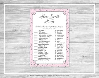 Pink and Silver Baby Shower How Sweet It Is Game - Printable Baby Shower How Sweet It Is Game - Pink and Silver Confetti Baby Shower - SP150
