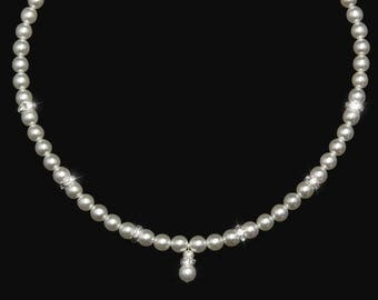 EUGENIE bridal necklace, white, ivory, glass pearls or Swarovski pearls,