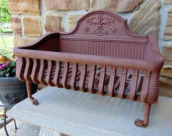 Antique Cast Iron FIREPLACE GRATE Fleur de Lis Victorian Log Holder Basket Adams Company - Excellent Condition!