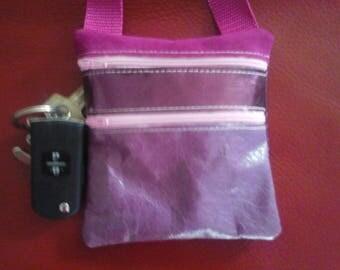 shoulder bag, school bag walk, phonecase, leather, key, purple pink shiny