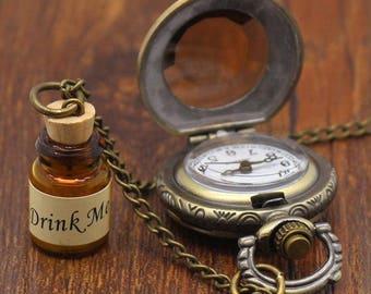 Steam punk pocket watch, Alice in wonderland jewelry, Steam punk jewelry, Vintage fob watches, Vintage Style jewelry, fob watches, vintage