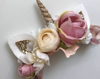 Blush and Ivory Unicorn Crown