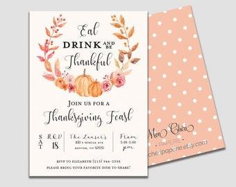 Thanksgiving Invitation | Thanksgiving Feast | Fall Invitation | Thanksgiving Wreath