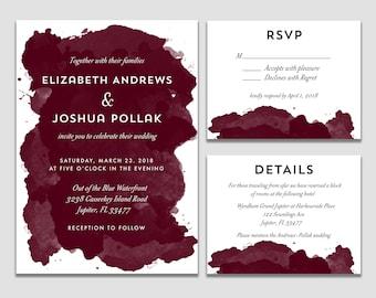 Burgundy Watercolor Wedding Suite Watercolor Invite Wedding Invitation Watercolor Wedding Printable Dark Red Wedding Invite