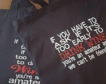 Wine Tote Bag / Friends Book Bag / Funny Gift Bag / Humor Gift / Black Tote / Gift / Embroidered / Wine Bag