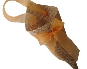 20 jute petals cone mantains its shape adorned with Ribbon tie cone confetti rice cone wedding petals